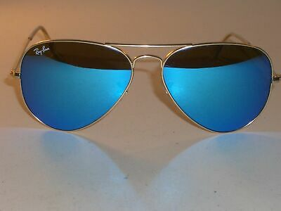 Ray Ban RB 3025 Aviator 112-17 Gold Frame / Blue Clear Mirror - Size 62 NEW