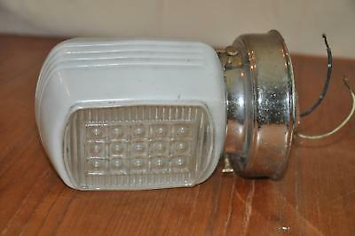 Vtg Art Deco Wall Sconce Chrome Wall Fixture Glass Globe LEVITON