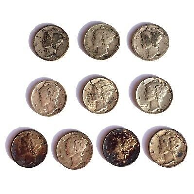 Mercury Dimes 1920-1945 Lot of 10 Circulated 90% Silver US Coins Junk Silver
