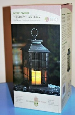 Battery Powered Window Lantern with Timer Flickering Candle Use Indoor Outdoor