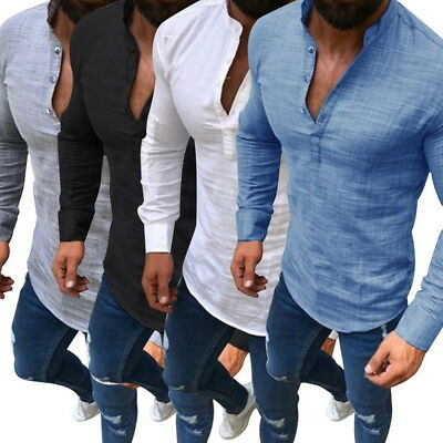 Men's Casual Cotton Linen T-Shirt Tops Loose V-Neck Long Sleeve Size Tee M-5XL