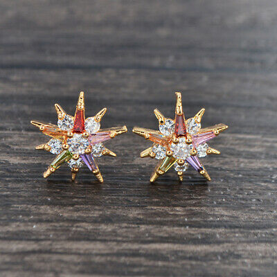 Fashion Women Gold Plated Multi-Coloured Cubic Zirconia CZ Spurs Stud Earrings