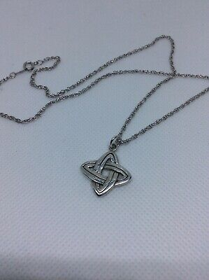 """Sterling Silver .75"""" Celtic Trinity Knot Pendant Necklace 18"""" Rope Symbol 🖐 Mde"""