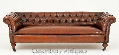 Victorian Chesterfield Sofa Antique Deep Button Leather Couch