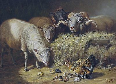 "Arthur F Tait, Chickens, Goats, Sheep, Maternal Solicitude, Farm, 20""x16"" ART"