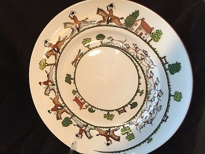 """One Crown Staffordshire Eng., Fine Bone China Hunting Scene 10 3/4"""" Dinner Plate"""