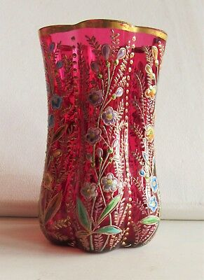 Bohemian MOSER Cranberry Glass VASE Hand - Painted Enameled Colourful  Flowers