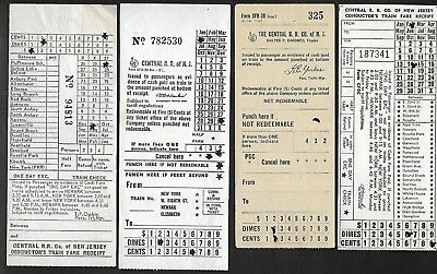Rare Lot of 4 validated RR tickets for THE CENTRAL RAILROAD CO NEW JERSEY