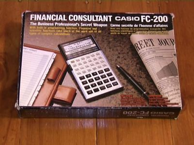 CASIO FC-200 FINANCIAL CONSULTANT Calculator -BOXED/ From 1987/ Works! -VINTAGE!