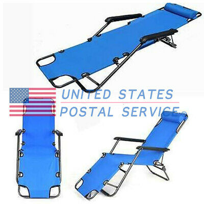 Blue Portable Dual Purposes Extendable Folding Reclining Relaxing Chair New