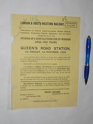 London & South Western Railway Instruction 1909 new platform @ Queens Rd Station