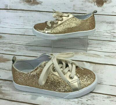 99e060506e07 Gymboree Girls 13 Gold All Glitter Sneakers Tennis Shoes Sparkle Shimmery  Bling