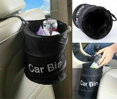 Mini Pop Up Car Bin Black Storage Rubbish Dustbin Foldable Travel Waste Basket