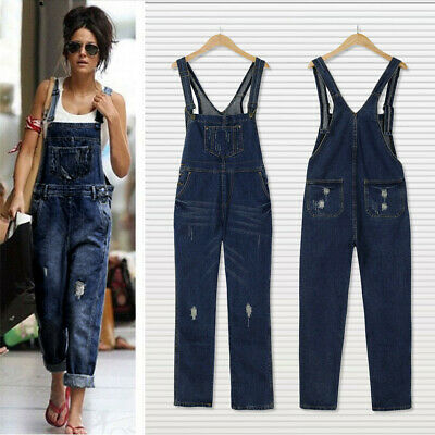 Women Loose Denim Jeans Pants Hole Overalls Straps Jumpsuit Rompers Trousers