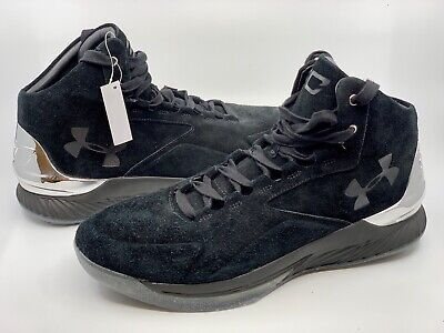 66993bb84607 Under Armour Men s UA Curry 1 Lux Mid Suede Basketball Shoes Black 1296617  Sz 14
