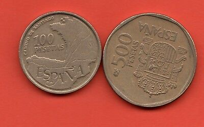 1993 100 & 1988 500 Pesetas Spain Spanish Coins