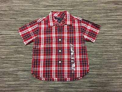 Tommy Hilfiger Baby Boys Short Sleeve Cheched Cotton Shirt In Red Mix 18 months