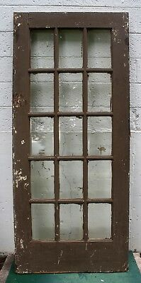 "36""x83"" Antique Vintage Oak Wood Exterior Entry French Door Window Beveled Glass"