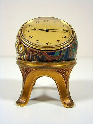 Rare Art Deco Swiss Zenith Ball Clock 8 Days Cloisonne With Stand Argit Sfoa