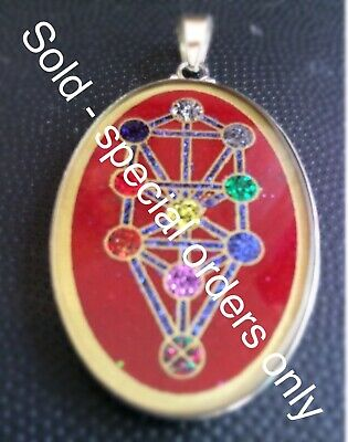 Tree Of Life Energy Necklace Coral Gemstone 1.5 Pendant Sterling Silver Kabbalah