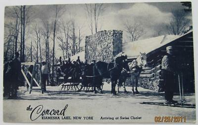 The CONCORD HOTEL Kiamesha Lake NY postcard Arriving Swiss Chalet #22-b