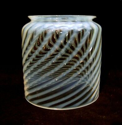C. 1910 Antique Victorian Opalescent Swirl Shade with Hall Light Fixture Parts