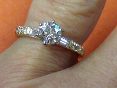 1.20Cttw Ladies 14Kt Yellow Gold Engagement Ring Size 6.75 Center .84