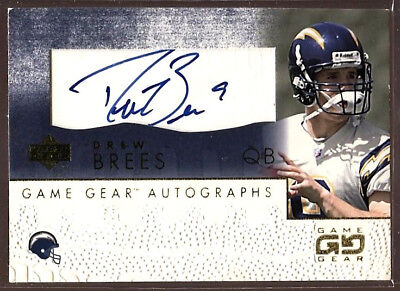 662017fde DREW BREES 2001 Upper Deck UD Game Gear Rookie RC Auto Autograph Signed Card  SP