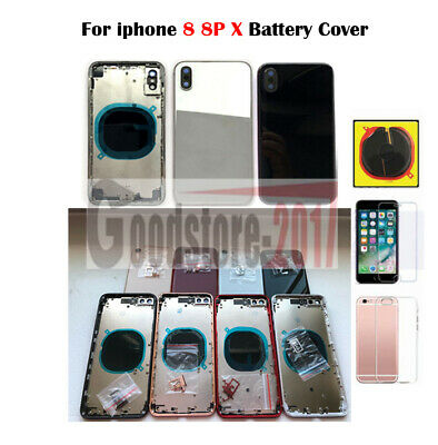 Replacement For iPhone 8 8 Plus X Back Housing Mid frame Door Cover Metal Glass