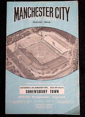 Manchester  City v Shrewsbury Town  f.a. cup  3rd round  9-1-1965