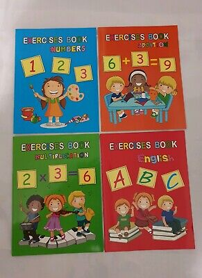 Set Of 4 Educational Kids Books writing numbers multiplication addition learning