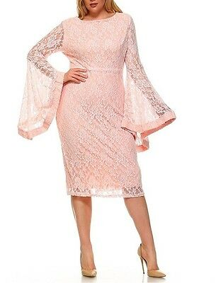 Plus Size Floral Lace Bell Sleeve Bodycon Midi Dress Blush Pink