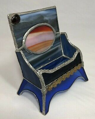 Vintage Handmade Stained Glass Business Card Holder