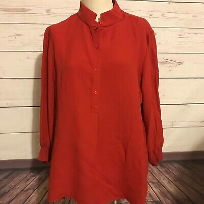943124463ed21 NEW! Lafayette 148 New York Womens Red 100% Silk Tunic Top Blouse XL  448