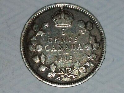 Canada Silver 5 Cents 1913 George V