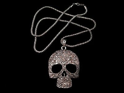 AMAZING VINTAGE ART DECO HUMAN SKULL MEDALLION-PENDANT w/ TOP CHAIN!!!
