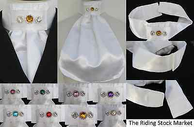 Ready/Pre Tied White Faux Silk Riding/Dressage Stock Bib-Choice of Coloured Gems
