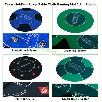 Deluxe 6-8 Player Layout Texas Hold'em Rubber Poker Table Cloth Gaming Mat Round
