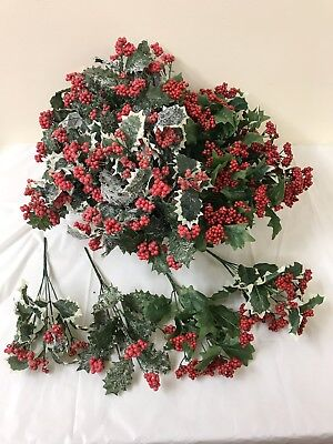 12 Holly Berry Bunches Joblot Artificial Christmas Picks Spray Fake Plant Craft