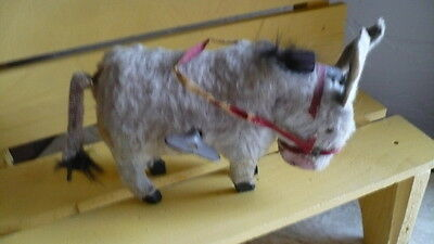 "3.5"" Antique Victorian Fur Donkey Windup Toy - French All Bisque  Doll Access"