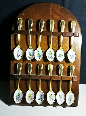 12 Gold Plated Stainless Steel Teaspoons on Display Rack, Enamel Birds (9053)