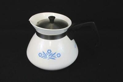 Vintage Corning Ware 6-Cup Coffee Tea Pot White Blue Cornflower With Lid