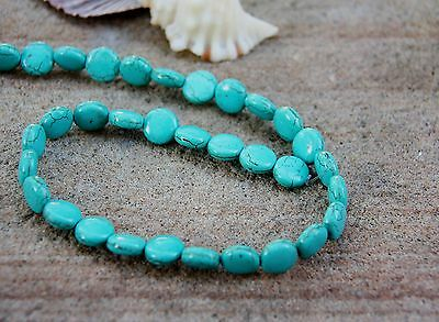 30 howlite turquoise blue 14mm flat round coin shaped beads new