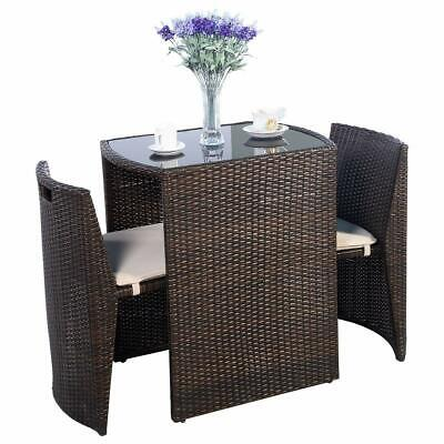 Giantex 3 PCS Cushioned Outdoor Wicker Patio Set Convention Bistro Set