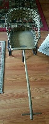 Antique primitive Gendron wicker furniture pull carriage RARE early 1900s