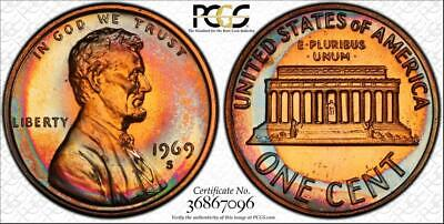 1969-S 1 Cents Lincoln Memorial Penny Pcgs Pr67Rb Graded & Toned Only 3 Higher!