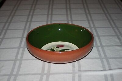 """Vintage Stangl Pottery Pink Thistle Round Salad Serving Bowl Brown/Green 9"""""""