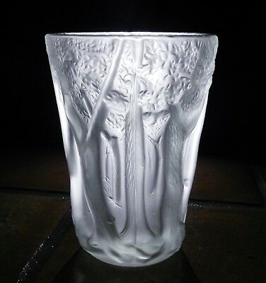 "VIntage 1920's Joseph Inwald Barolac 10.5"" Tree Forest Frosted Glass Vase"