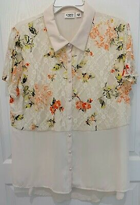 Cato ivory plus size lace overlay floral button down top blouse 18/20W EUC