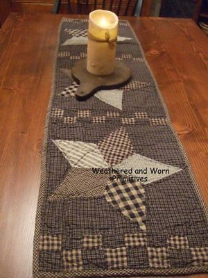 "Primitive Country Black & Tan Farmhouse Quilted Star Table Runner 36"" x 13"""